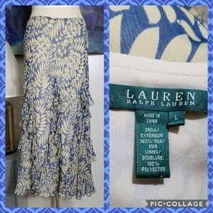 Ralph Lauren Silk Chiffon Ruffle Detail Skirt